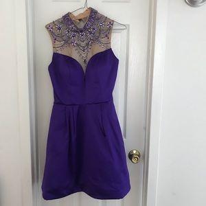 Purple Sherri Hill Homecoming Dress w/ pockets
